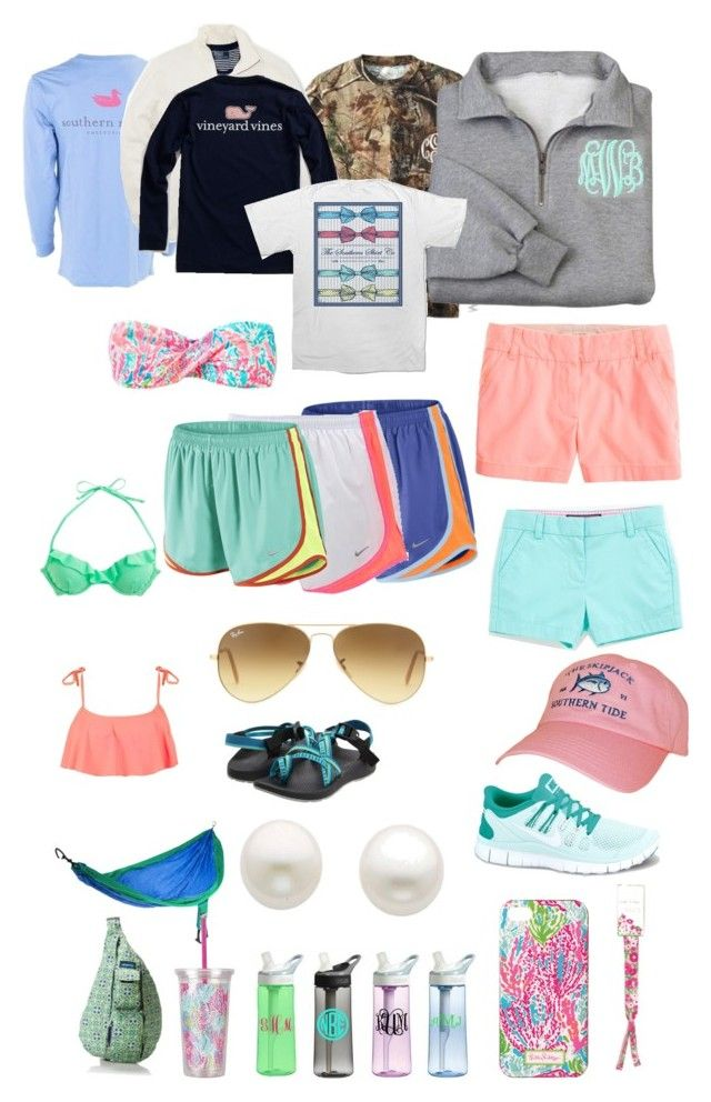 """""""Essentials"""" by classic-prep ❤ liked on Polyvore featuring NIKE, J.Crew, Roxy, Chaco, Reeds Jewelers, Lilly Pulitzer, Southern Tide, Ray-Ban, Polo Ralph Lauren and Vineyard Vines"""