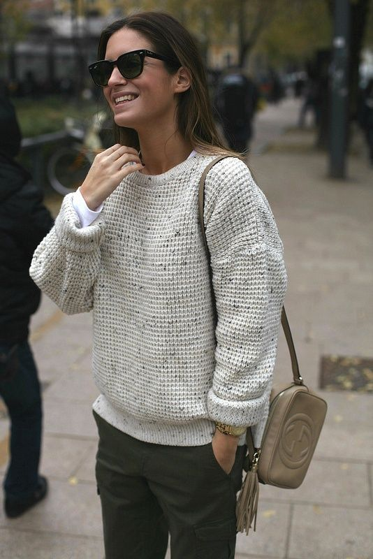 pastel cable knit + Gucci bag + sunglasses = perfect street style