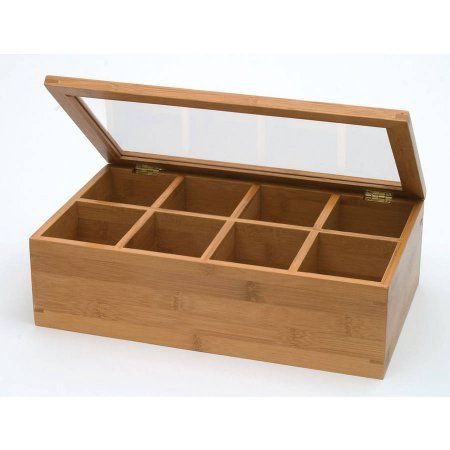 Bamboo and Acrylic 8-Compartment Tea Box, Brown