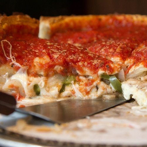 Chicago-Style Italian Sausage And Pepper Deep Dish Pizza Recipe - MasterCook