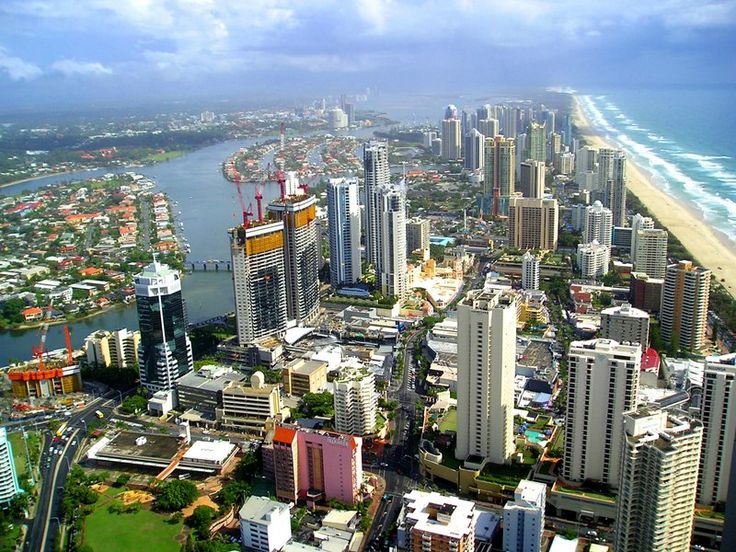 Looking north across Surfers Paradise on the Gold Coast in Australia