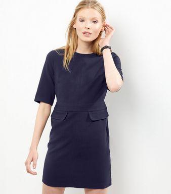 Black Short Sleeve Double Flap Pocket A-Line Dress   New Look