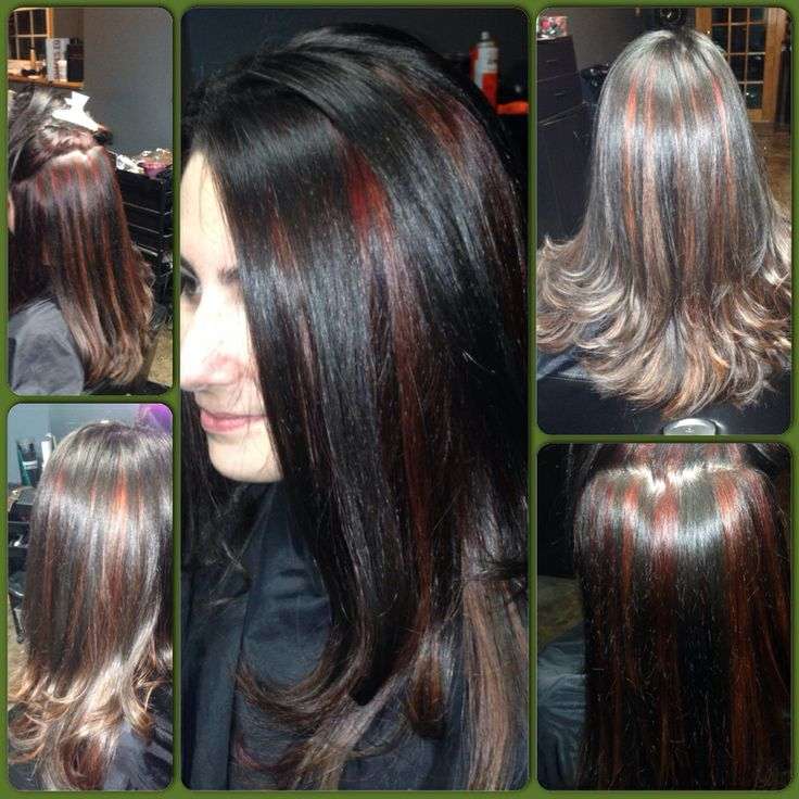 Hair Color Peekaboo Red Copper Highlights And Long