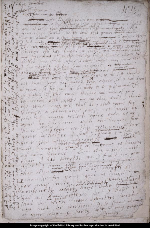 Elizabeth I's answer to the Lords' petition that she marry, April 10, 1563, British Library. The draft of Elizabeth's speech in 1563 shows scribbled corrections and insertions in her own hand.