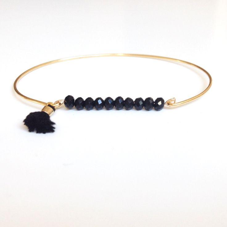 Bracelet jonc plaqué or petites pierres de jet