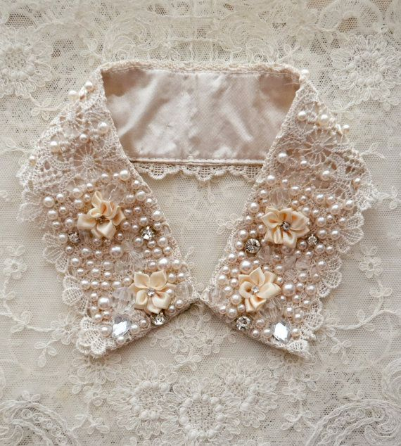 Vintage Embellished Lace Collar with Pearls and Beads~❥