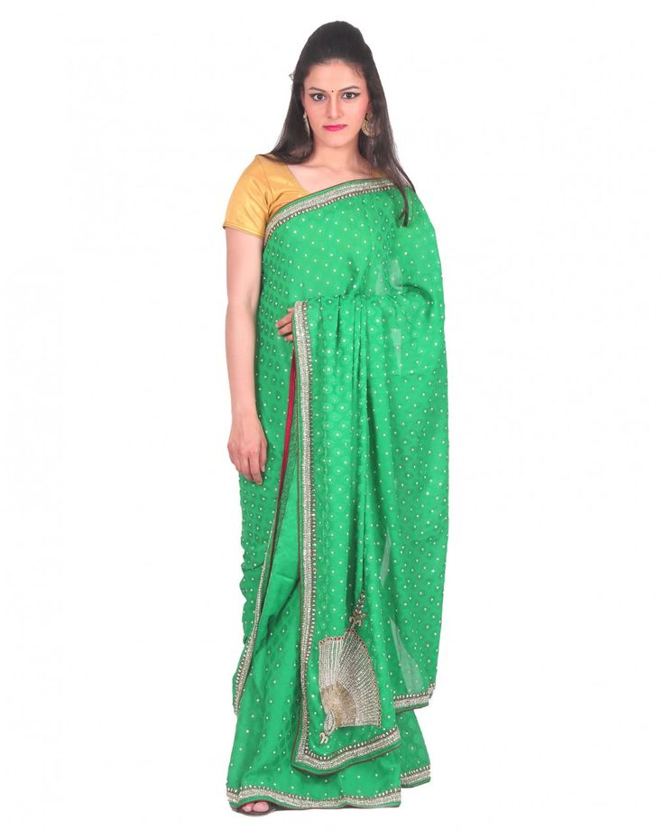This green colored crepe saree with stone work suitable for evening partywear. Comes with unstitched 80cm blouse piece, blouse is not the one shown in the pr
