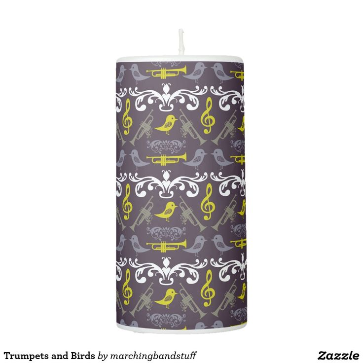 Trumpets and Birds Pillar Candle #marchingbandstuff #hornandcastle