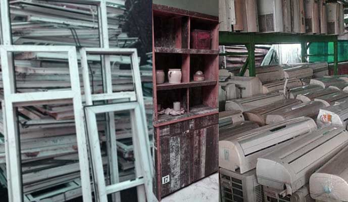 Used Ac Windows Cabinets Scrap Mall Humay Dain In 2020 Windows Marble Slab White Marble
