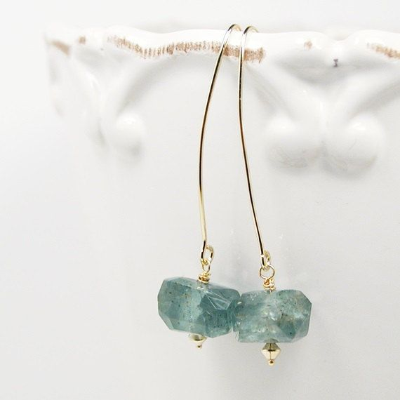 Long Moss Aquamarine Earrings Green and Gold Jewelry by crijewelry, $59.00