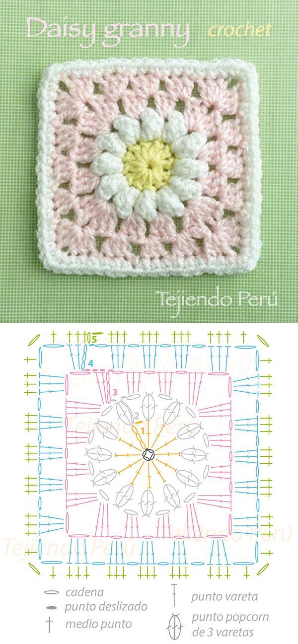 Daisy granny! Cuadrado tejido a crochet con una flor de margarita central! Crochet daisy granny diagram!༺✿Teresa Restegui http://www.pinterest.com/teretegui/✿༻
