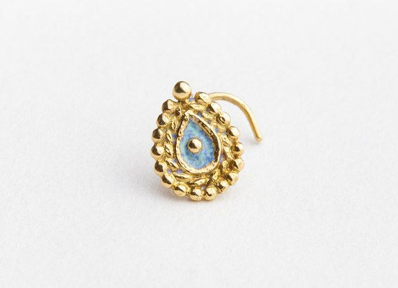 Large Nose Stud  Solid 14k Yellow Gold Indian Nose by StudioMeme