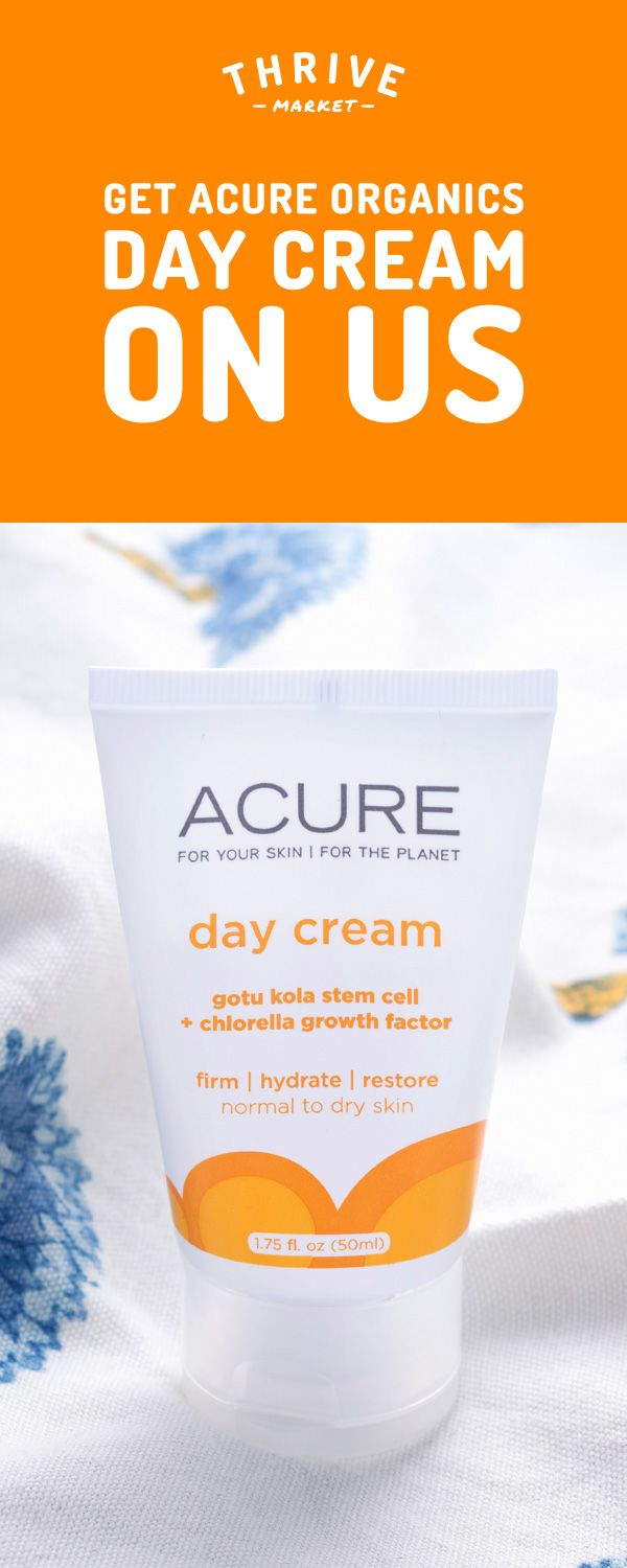 Get your FREE Acure Organics day cream at Thrive Market! On a mission to make healthy living easy and affordable for everyone, Thrive Market offers premium, healthy foods and wholesome products up to 50% off every day with delivery right to your door. Get your FREE day cream today while supplies last, and start saving!