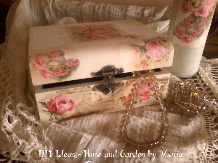 DIY Ideas - Home and Garden by Maria: Ρομαντικό Κουτί Κοσμημάτων με Χαρτοπετσέτες.