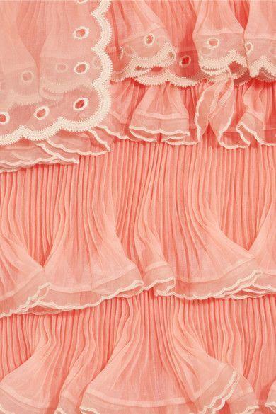 Chloé - Tiered Plissé Silk-organza Mini Dress - Peach - FR3