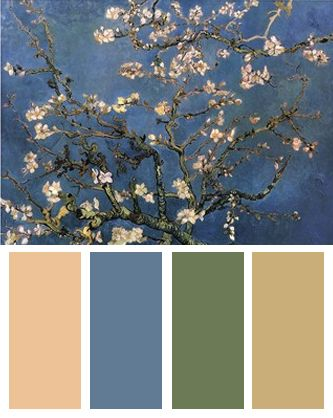 Color Palette inspired by Vincent van Gogh's Blossoming Almond Tree...saw this Art at the Philly Museum of Art with my daughter.
