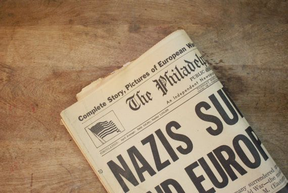 Two Vintage 1940s Newspapers - Ending of World War II - Great Father's Day Gift…