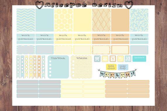 Decorative Blue Yellow Rustic Printable A4 Erin Condren Life Planner Stickers