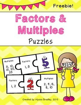 FREEBIE! Looking to give your students a fun way to review factors and multiples? Students can use these puzzle piece sets to match the numbers 1-12 with their factors and multiples.