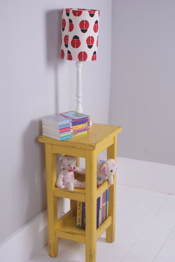 Etsy - Blue Ticking Spaces | Children's Vintage Yellow Wooden Bedside table | £80