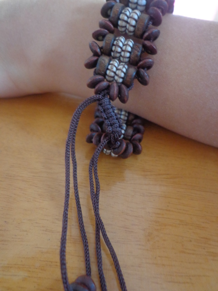 Colorful & unique individual designs of wooden bracelets approx 7.5 inches
