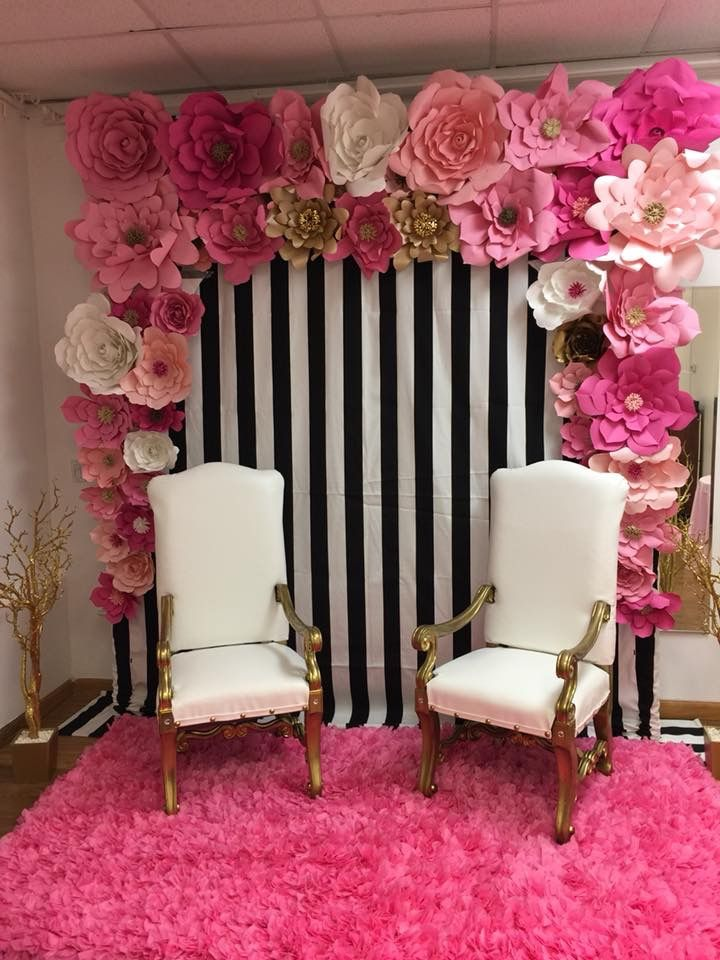 Black And White Strip Birthday Decor Pink Party Theme Pink Graduation Party Striped Party Decor