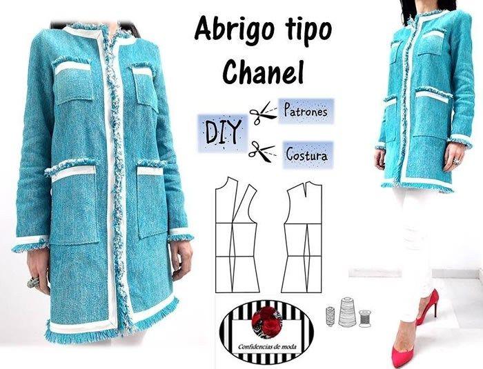 Abrigo chaqueta tipo chanel | Patrones | Sewing, Sewing hacks y Crochet