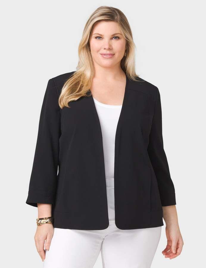 55c8ec705b1 dressbarn JONES STUDIO Plus Size Open-Front Blazer