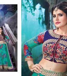 Buy Sky blue  silk  and  net Embroidered unstitched lehenga-choli lehenga-choli online