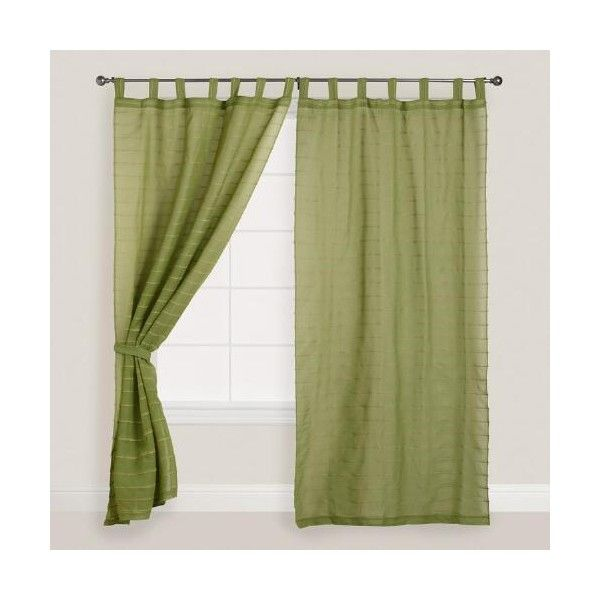 Cost Plus World Market Green Striped Sahaj Jute Tab Top Curtains ($40) ❤ liked on Polyvore featuring home, home decor, window treatments, curtains, green, cost plus world market, tab top curtains, green stripe curtains, woven curtains and textured curtains