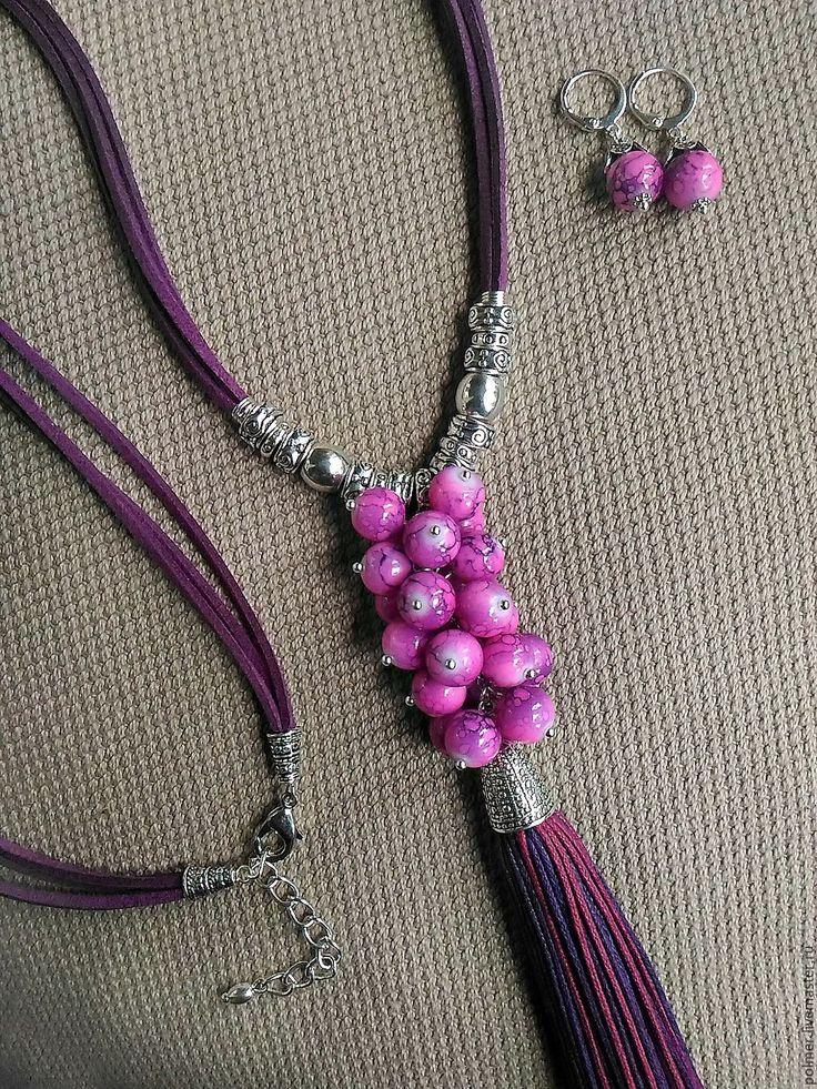 Купить Подвеска-кулон Бохо. Пурпур (+подарок) - сиреневый, подарок подруге, кулон на шнуре, кулон