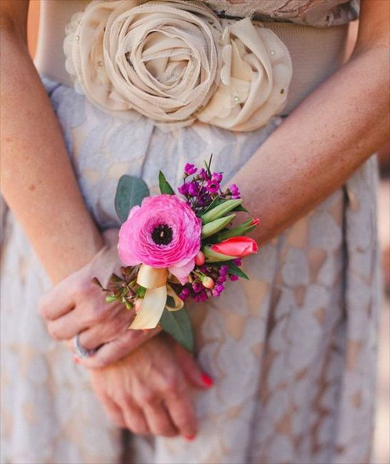 hink a corsage is too old-fashioned? Think again! We love the trend of a bridesmaid corsage instead of bouquet, especially when the corsages are tastefully crafted with bold on-theme colors and sty...