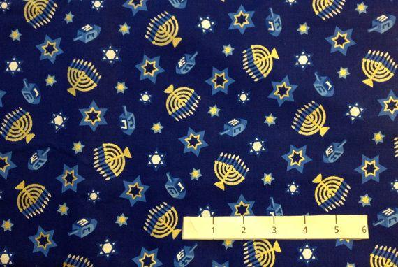 Jewish MENORAH DREIDEL Star of David Fabric ~ Hanukkah VIP Cranston #fabric4you