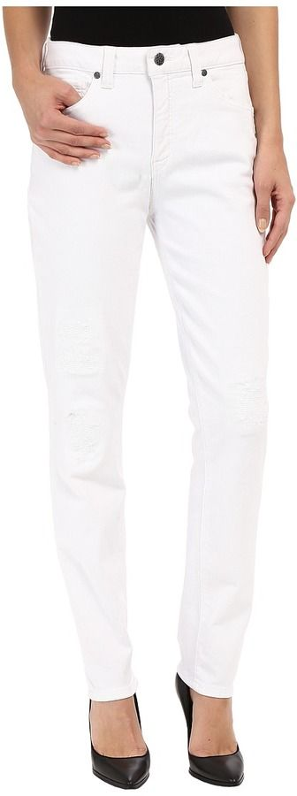 Miraclebody Jeans Ricky Rip and Repair Skinny Jeans in Blanco White