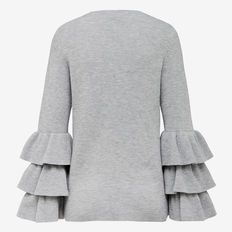 TIERED RUFFLE KNIT  GREY MARLE