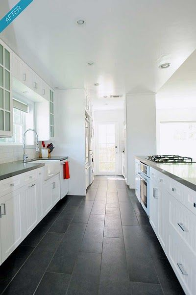 Love these floors...look like tiles that look like wood - so much easier to clean!