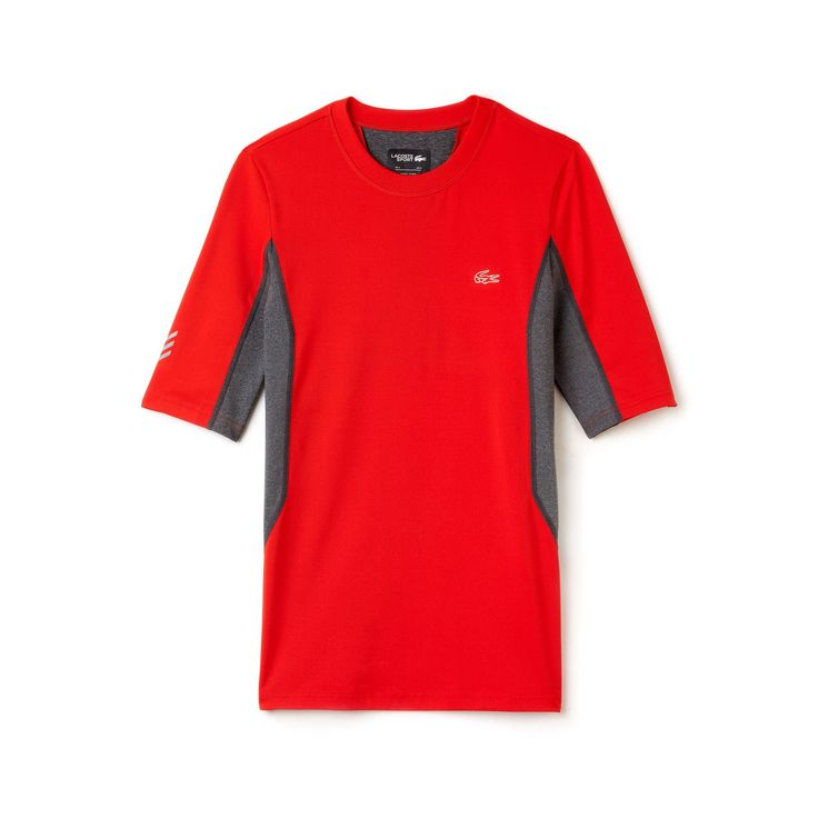 LACOSTE Men's SPORT Performance Compression Tennis T-Shirt - corrida/pitch. #lacoste #cloth #
