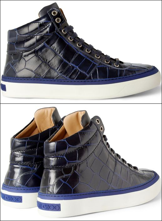 GARCON MENS STYLE FASHION BLOG Jimmy Choo Belgravia Crocodile-Embossed Leather High Top Sneakers NAVY BLUE LACE UP