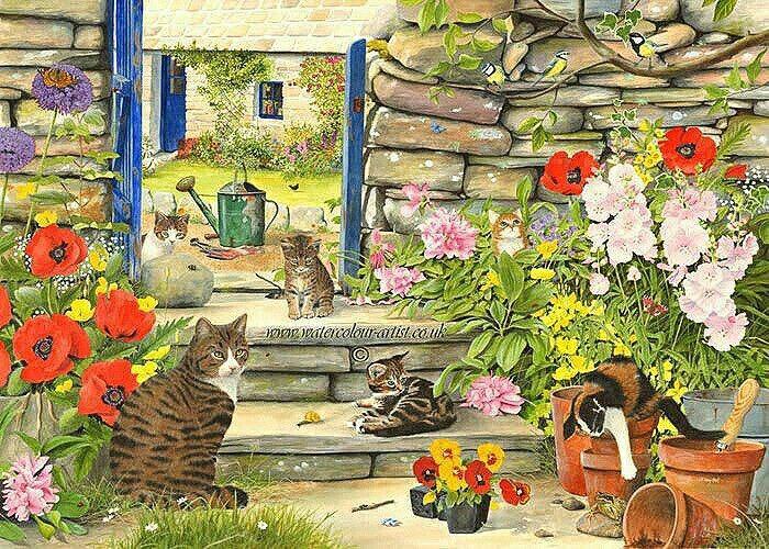 mamma gatta e gattini che giocano in cortile