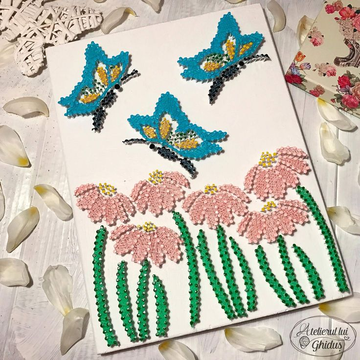 Flower and butterflies string art / beautiful colours  (fb: www.facebook.com/atelierulluighidus)