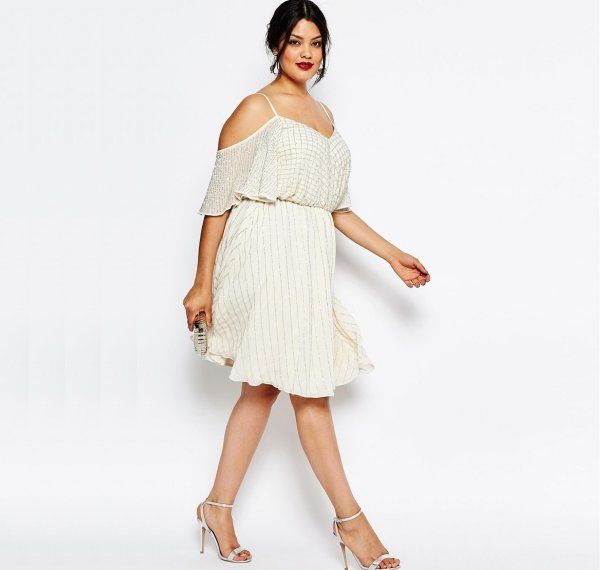 Cute & sexy plus size embellished cream summer dress featuring cold shoulder top and flutter sleeve by Asos