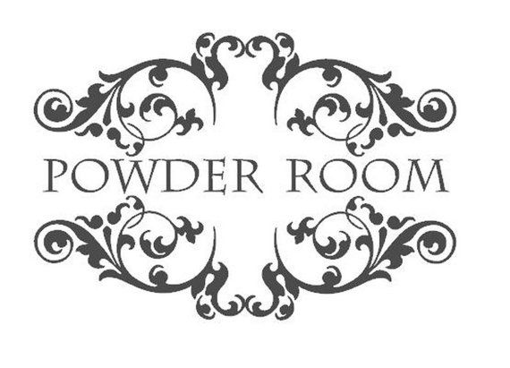Powder Room -  Vinyl Wall Lettering  for the Bathroom- Wall Quotes Saying Decal - Romantic French Baroque Black or White -