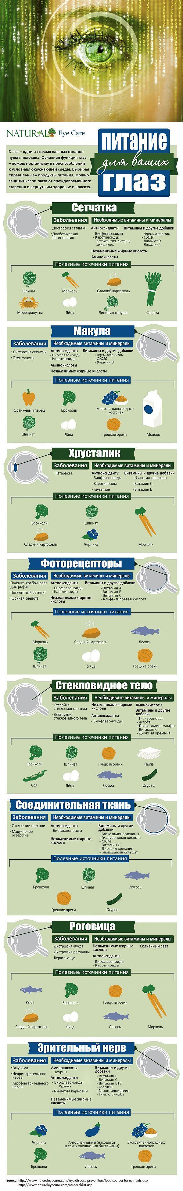 Инфографика: Какие продукты полезны для глаз.
