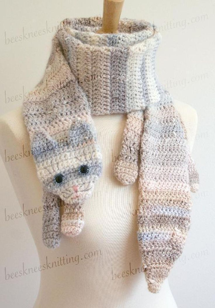 Calico Cat Scarf Crochet Pattern | Crocheted Apparel | Pinterest