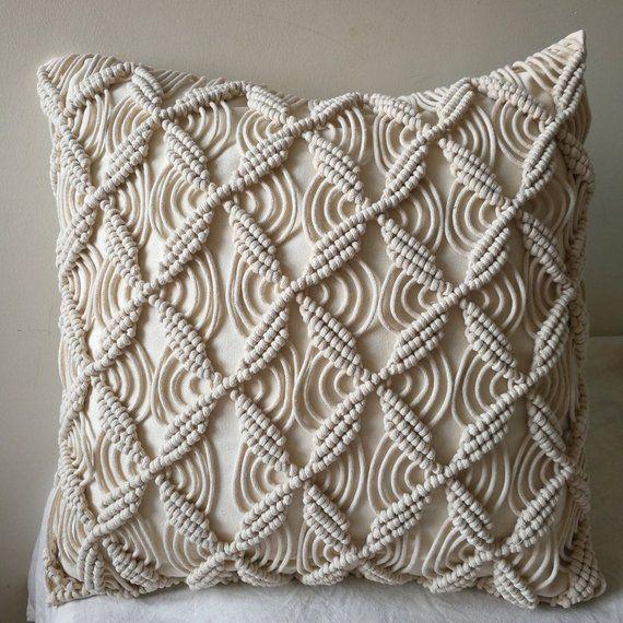 Macramé pillow cover Boho cushion cover 100% cotton wedding