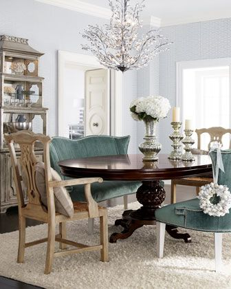 dining room.Dining Rooms, Decor Ideas, Benches, Dining Room Tables, Set, Mixed Matching, Wood Tables, Round Tables, Dining Tables