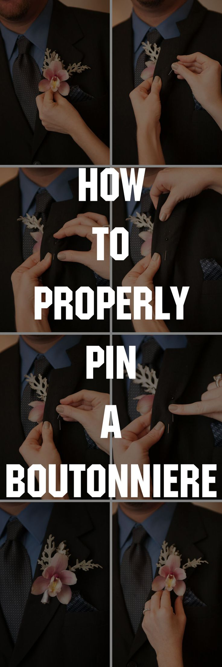 How to Properly Pin a Boutonniere - click for a walkthrough. #wedding #flowers #grooms been doing this for years for my clients.  Most florists don't even pin them correctly!