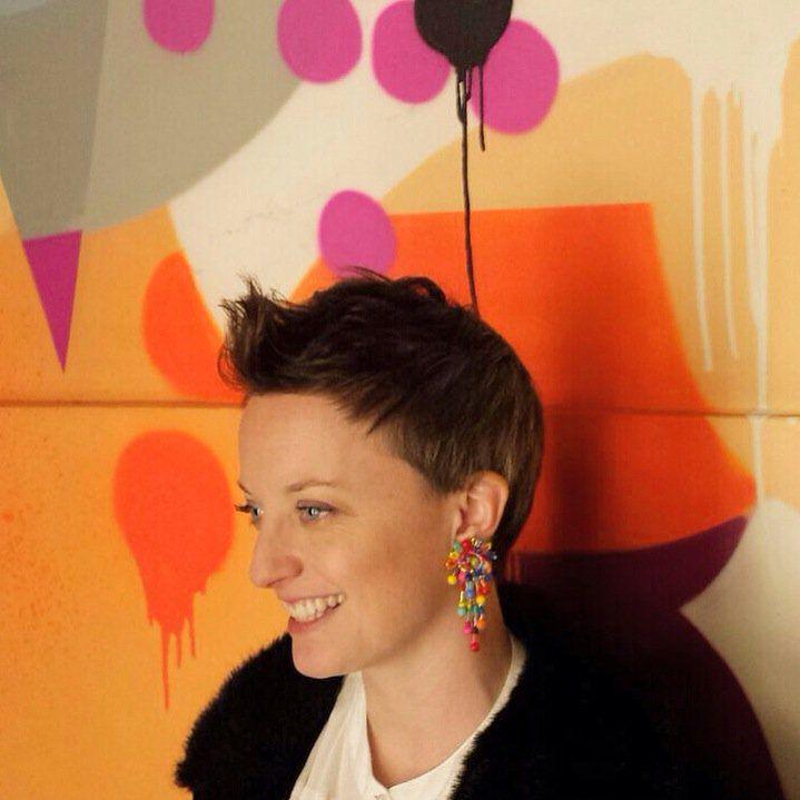 """Oh hi blobby wall, meet my favourite new blobby Dori earrings..."" ~Sarah Angold studio #DoriCsengeri #clips #bold #colors #earrings #SarahAngold #fashionfavorites"