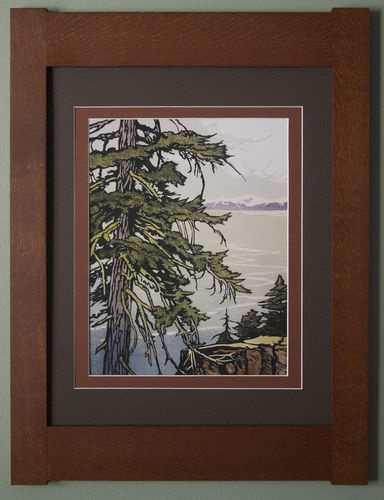 mission style quartersawn oak arts crafts framed print