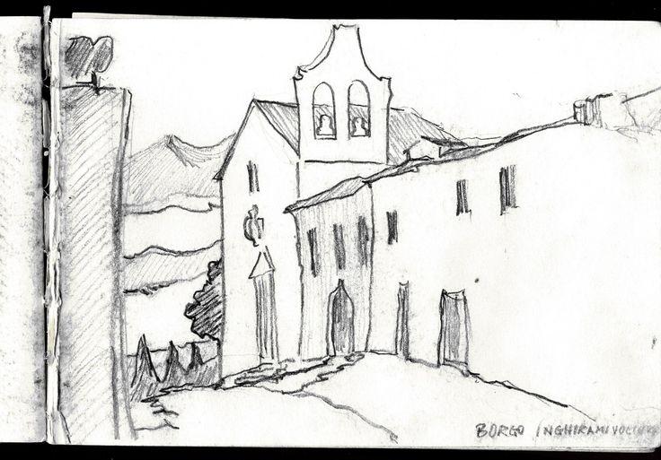 Borgo Inghirami (Volterra) 1997 - Sketcher Riccardo Giunti sketchbook summer 2002. #riccardogiunti
